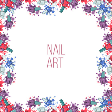 glitter makeup: Vector nail lacquer bottles. Hand drawn border and place for your text. Nail art