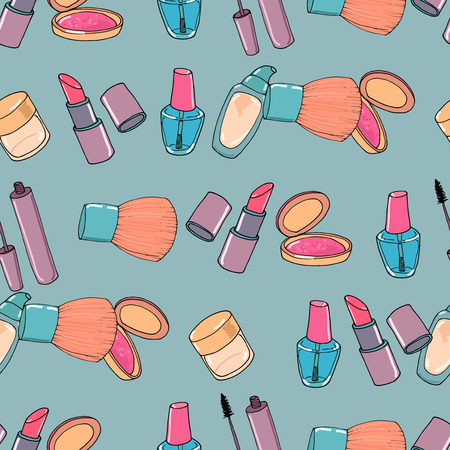 eye shadow: Makeup seamless pattern. Mascara, eye shadow, concealer and blusher on blue background