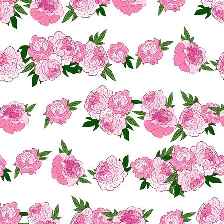 흰색 배경에 아름 다운 분홍색 모란의 horisontal 행을 사용 하여 원활한 패턴. 벡터 일러스트 레이 션. 웹, 포장지에 좋습니다. 일러스트