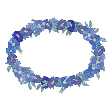 wildflowers: Blue floral border made with wildflowers. Floral design Illustration
