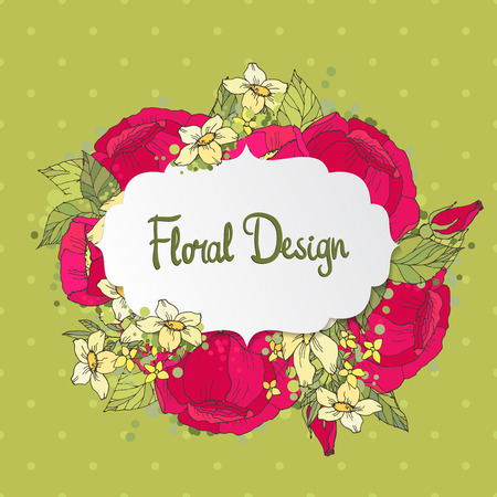 vintage floral frame: Vintage Floral Frame with hand drawn peonies.  Perfect for wedding invitations and birthday cards