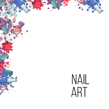 nail lacquer: Vector nail lacquer bottles. Beauty hand drawn frame