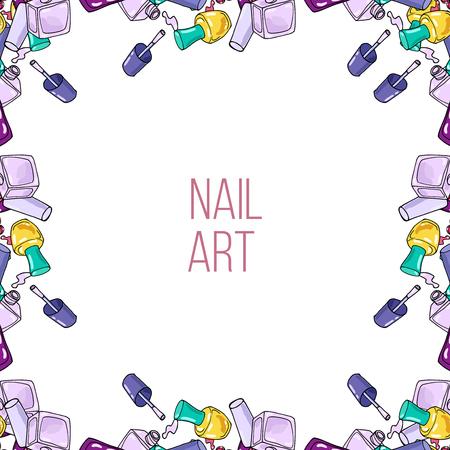 nail lacquer: Vector hnad drawn frame made nail lacquer bottles. Nail art