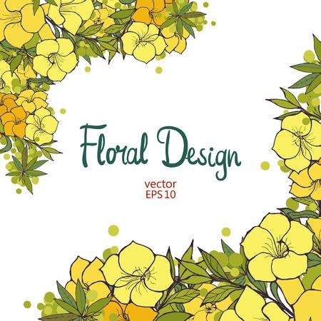 flores exoticas: Frontera hermosa con la mano dibujada ex�ticas flores amarillas. Dise�o floral.