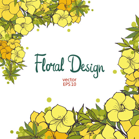 Beautiful border with hand drawn exotic yellow flowers. Floral design.