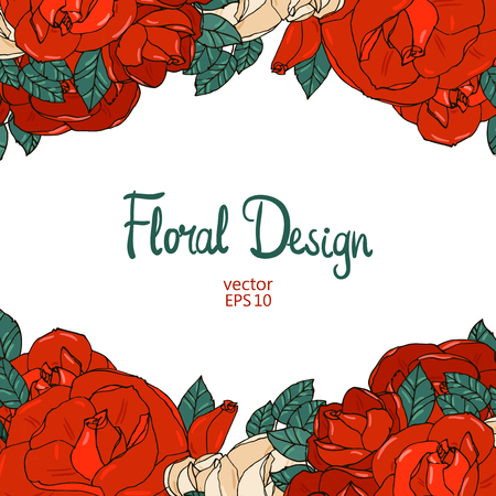 Vintage wedding border with beautiful red garden roses and place for your text.