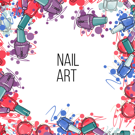 Vector nail lacquer bottles. Frame with place for your text. nail art
