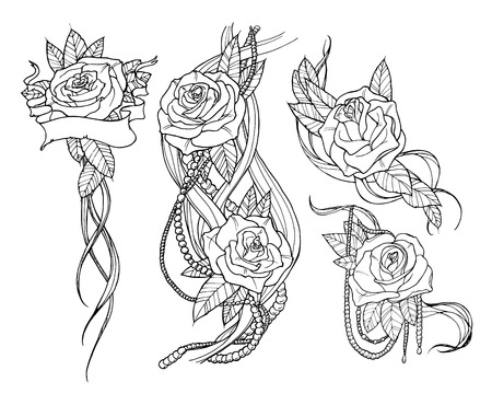 rosas negras: conjunto rosa tatuada hermosa, esbozar ilustraci�n en blanco y negro