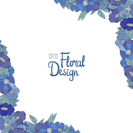 blue floral: Blue floral border made with wildflowers. Floral corner and place for your text