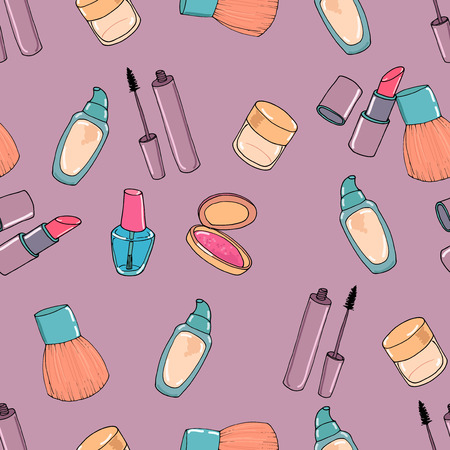 makeup: Makeup seamless pattern. Mascara, eye shadow, concealer, blusher and nail polish
