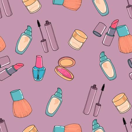 Makeup seamless pattern. Mascara, eye shadow, concealer, blusher and nail polish