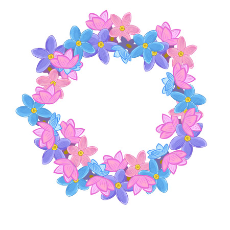 un: Small pink, violet and blue Flowers arranged un a shape of round wreath. Forget-me-not