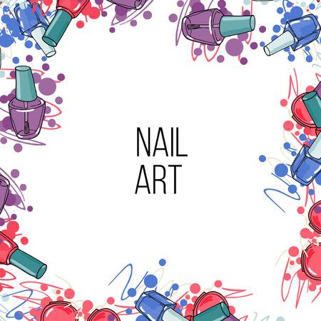 pedicura: Vector botellas de laca de uñas. Marco con lugar para el texto. arte de uñas Vectores
