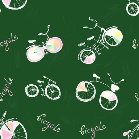 pen cartoon: Cute  doodle bicycles. Seamless pattern, cartoon style