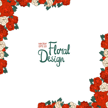 Vintage wedding border with beautiful red roses. Floral design.