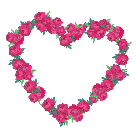 un: Floral Frame. Retro flowers arranged un a shape of heart, perfect for wedding invitations and birthday cards Illustration