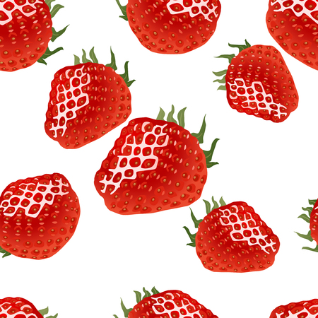 womanlike: Seamless pattern with red ripe strawberry on white background, good for web, print, textile, wrapping paper