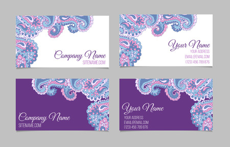 asian business people: Collection of two double-sided ornamental business cards. Paisley