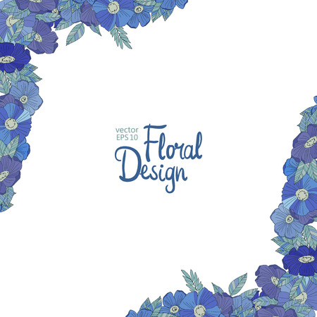 blue floral: Blue floral border made with wildflowers. Floral corners. Watercolor design