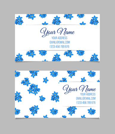 temlate: Floral business card temlate with blue forget-me-not flowers on white background. double-sided Stock Photo