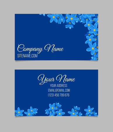 temlate: Floral business card temlate with forget-me-not flowers on blue background. Double-sided