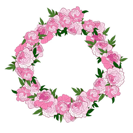 un: Pink flowers arranged un a shape of the wreath perfect for wedding invitations and birthday cards