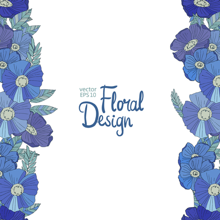 bordure florale: Seamless floral border made with blue watercolor wildflowers. Floral design
