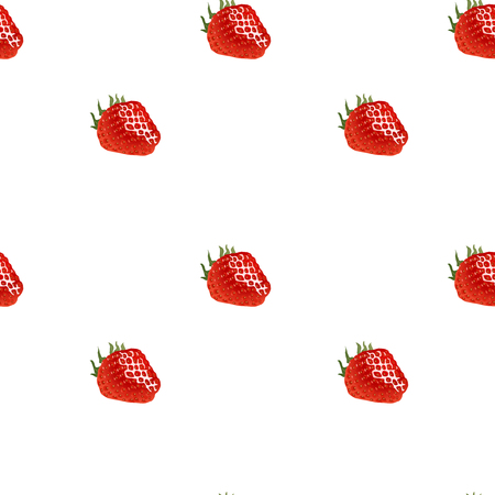 womanlike: Seamless pattern with red ripe strawberry on white background