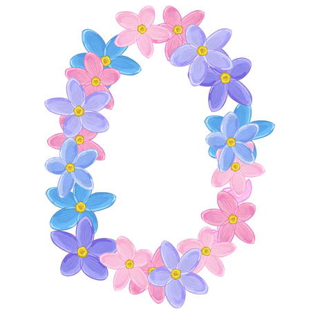 un: Small blue, pink and violet flowers arranged un a shape of vertical oval wreath. Forget-me-not
