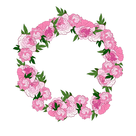 un: Pink Floral Frame. Retro flowers arranged un a shape of the wreath perfect for wedding invitations and birthday cards