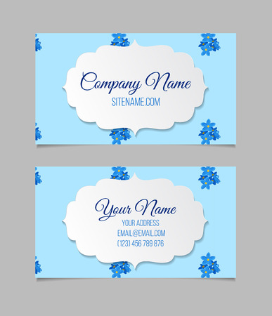 temlate: Floral business card temlate with blue forget-me-not flowers. double-sided