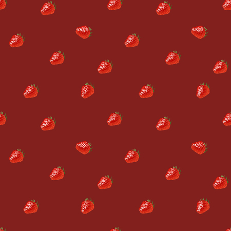 womanlike: Seamless pattern with  small strawberry on red background