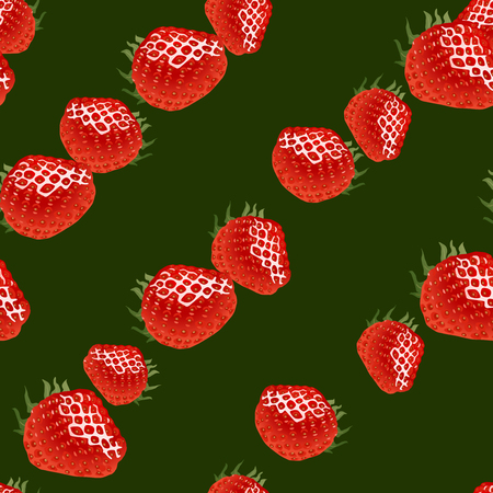 womanlike: Seamless pattern with red ripe strawberry on dark green  background Illustration