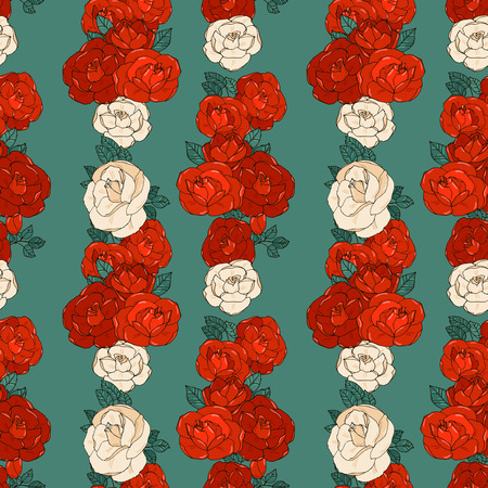 vertical garden: Hand drawn seamless pattern with vertical rows of red and white garden roses.