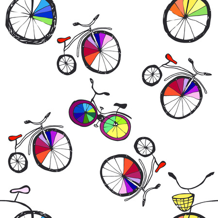 space cartoon: Cute  doodle bicycles on white. Seamless pattern, cartoon style