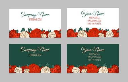 beautiful garden: Set of two double-sided floral vintage business cards with beautiful garden roses