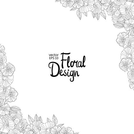 floral corner: Black and white outline  border made with flowers. Floral corner