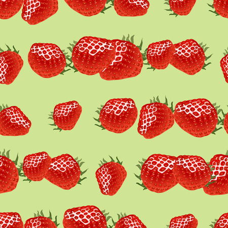 womanlike: Seamless pattern with red ripe strawberry on light green  background