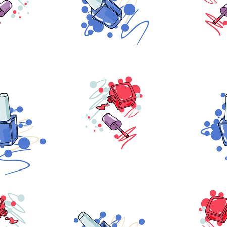 Naadloos patroon met nagellak op een witte achtergrond. Fashion vector illustration