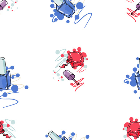 Seamless pattern with nail polish on white background. Fashion vector illustration