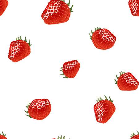womanlike: Seamless pattern with red strawberry on white background. Good for wrapping paper, print, web, etc.