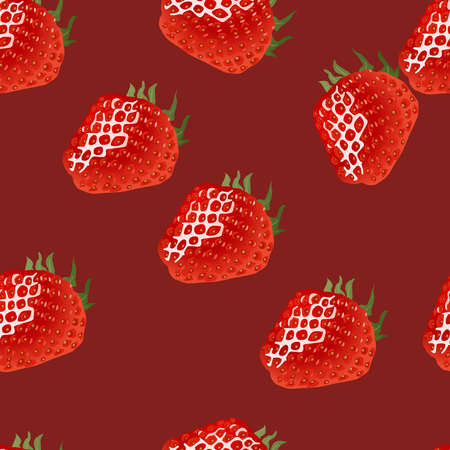 womanlike: Seamless pattern with  ripe strawberry on red background Illustration
