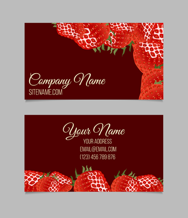corporative: Vector business card template. This file can be used for advertising, print design. Visit card, invitation, greeting card. Strawberry border