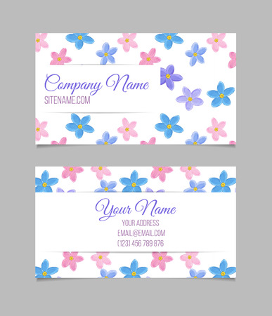 forget me not: Floral card template with sweet forget-me-not flowers on white background