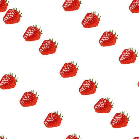 womanlike: Seamless pattern with diagonal rows of strawberry on white background Illustration