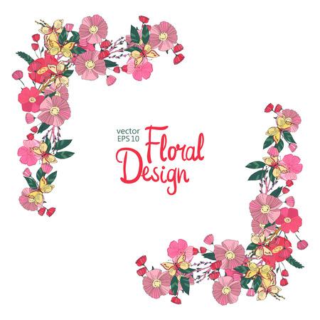 Floral border avec des fleurs et baies papillon. automne illustration