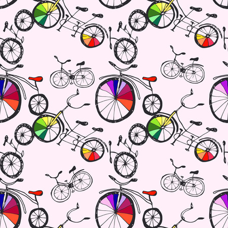 pen cartoon: Cute  doodle bicycles on white. Seamless pattern, cartoon style