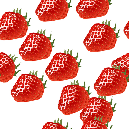 womanlike: Seamless pattern with red ripe strawberry on white background.