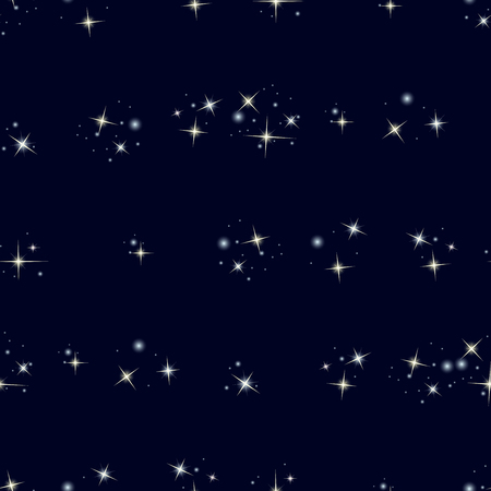 asterism: Starry sky. Seamless pattern with stars on dark blue background