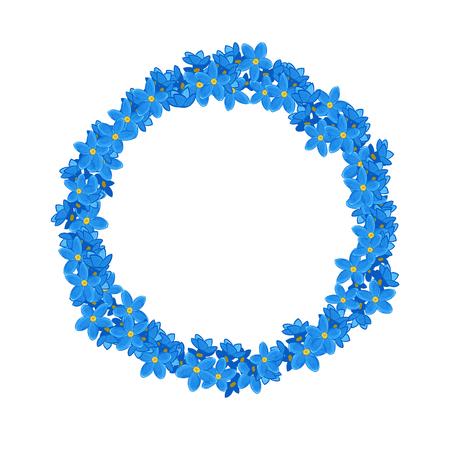un: Small blue Flowers arranged un a shape of wreath. Forget-me-not